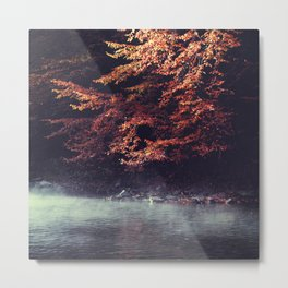 River Morning - Rising fog and tree in fall foliage at the river Metal Print