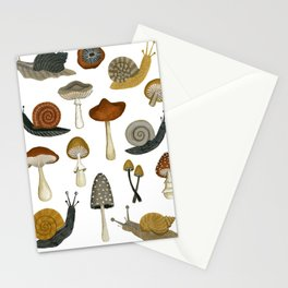 mushrooms and snails Stationery Cards