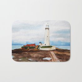 St. Mary's Lighthouse Watercolor Painting Bath Mat