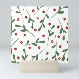 Hipster Holiday Red Ditsy Flowers and Green Leaves Mini Art Print