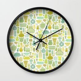 Collection of Vessels in Green Wall Clock