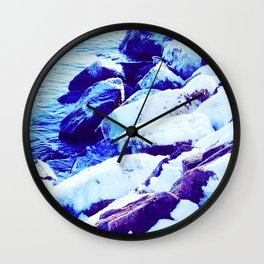 Snow Covered River Stones Wall Clock