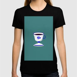 Cup of Coffee in Blue Flow Vintage China T-shirt