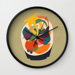 Fruits in wooden bowl Wall Clock