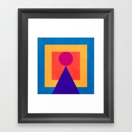 Abstract Christmas Tree Minimal Art Red and Blue Framed Art Print