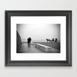 Vintage retro seaside scene people and a horse with a carriage Framed Art Print