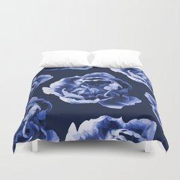 Pastel Blue Flowers On A Dark Blue Background #decor #society6 #buyart Duvet Cover
