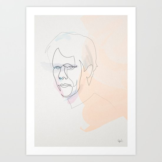 One line Kevin Bacon Art Print
