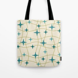 Mid Century Modern Cosmic Star Pattern 693 Cream Turquoise Olive Tote Bag