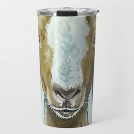 Goat Art, Cute Farm Animal Painting Travel Mug