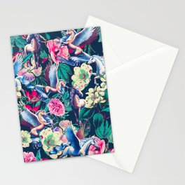Unicorn and Floral Pattern Stationery Cards