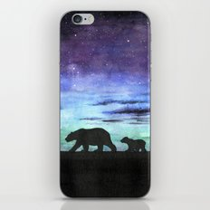 Aurora borealis and polar bears (black version) iPhone & iPod Skin