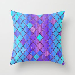 Moroccan Tile Pattern In Purple And Aqua Blue Throw Pillow