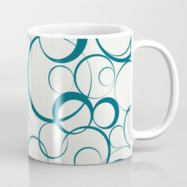 Tropical Dark Teal Funky Rings Pattern Inspired by Sherwin Williams 2020 Trending Color Oceanside SW6496 on Off White Coffee Mug