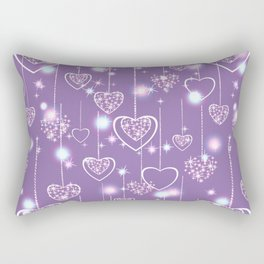 Bright openwork hearts on a lilac background. Rectangular Pillow