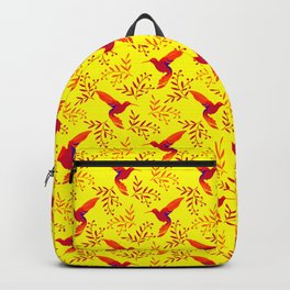 Pretty beautiful cute red hummingbirds, delicate twigs with little leaves yellow pattern. Gift ideas Backpack