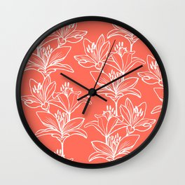 Lily Love in Coral Orange Wall Clock