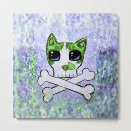 Skull and Crossbones Aerro Cat Metal Print