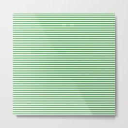 Even Horizontal Stripes, Green and White, XS Metal Print