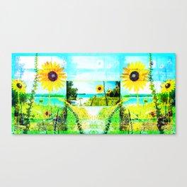 Sunflowers On The Beach at Lake McConaughy Canvas Print