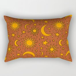 Vintage Sun and Star Print in Rust Rectangular Pillow