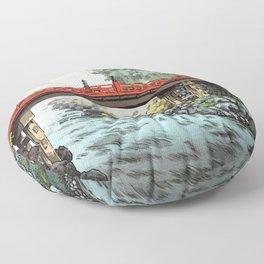 Tsuchiya Koitsu - Nikko, Sacred Bridge - Japanese Vintage Woodblock Painting Floor Pillow