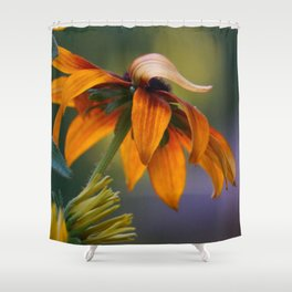 Orange Flower with a Flipped Up Petal Shower Curtain