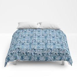 ELEPHANT SAFARI Tribal Indigo Ikat Pattern Comforters
