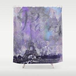 Purple Paris Watercolor Art Shower Curtain