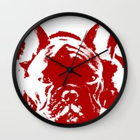 frenchie Wall Clocks featuring Frenchie by Red Eyes Apparel