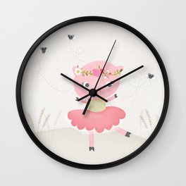 Pig & Flies dancing together on the farm Wall Clock