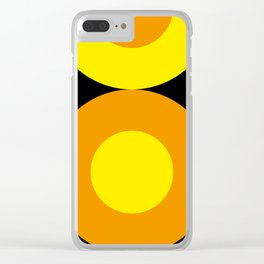 Two suns, one yellow with orange rays,the other orange with yellow rays,both floating in a black sky Clear iPhone Case
