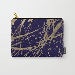 Elegant faux gold modern navy blue paint splatters Carry-All Pouch