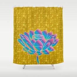 Lotus Holly Flower on Gold-leaf Screen Shower Curtain
