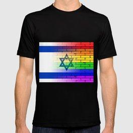 Gay Rainbow Wall Israel Flag T-shirt