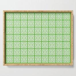 Green Greek Key Pattern Serving Tray