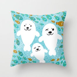 happy family of white seals and fish on a blue background. Throw Pillow