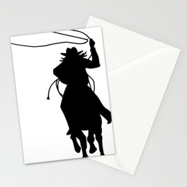 Cowgirl Roper Silhouette Stationery Cards