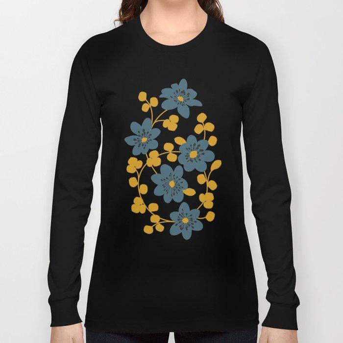 Floral pattern. Hepatica flowers Long Sleeve T-shirt