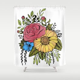 SUNFLOWER & ROSE Shower Curtain
