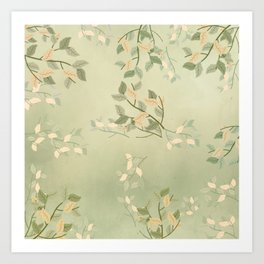 Sage Green Watercolor Woodland Leaves Art Print