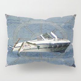 Nautical Boat Wheel Lake Waves Pillow Sham
