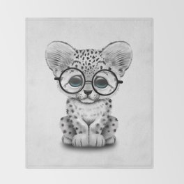 Cute Snow Leopard Cub Wearing Glasses Throw Blanket