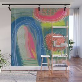 Shapes and Layers no.27 - Abstract Painting gouache and pastels Wall Mural