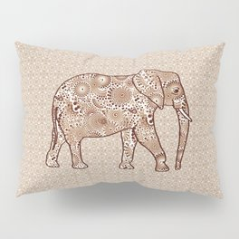 Fractal Swirl Elephant, Brown and Taupe Pillow Sham