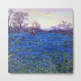 Bluebonnets at Twilight, mountain-desert landscape painting by Robert Julian Onderdonk Metal Print