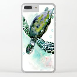 Sea Turtle, underwater scene,  green turquoise beach house design Clear iPhone Case