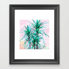 Blue palm trees with triangles Framed Art Print