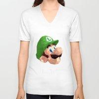 luigi V-neck T-shirts featuring Luigi Poster by Rebekhaart