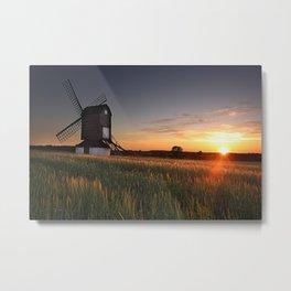 Pitstone Windmill Sunset Metal Print